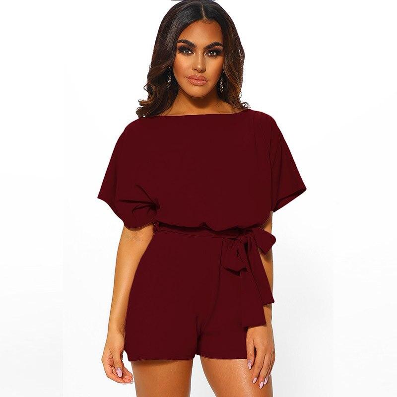 2020 New Shorts Fashion Trend Solid Color Belt Short Sleeve Jumpsuit  Black