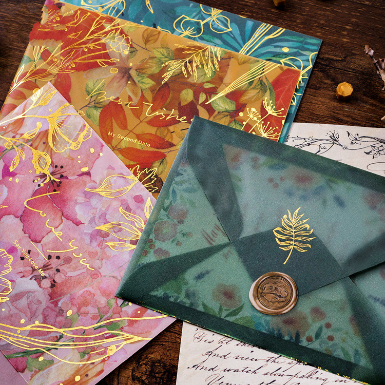 3pcs/lot Sulfuric Acid Paper Envelope Wedding Laser Leaf Card Invitation Scrapbooking Decoration Gift Letter For Star Prince