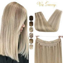 VeSunny One Piece Invisible Halo Hair Extensions Machine Remy Human Hair Wire with 2 Clips on Dark Blonde Highlights