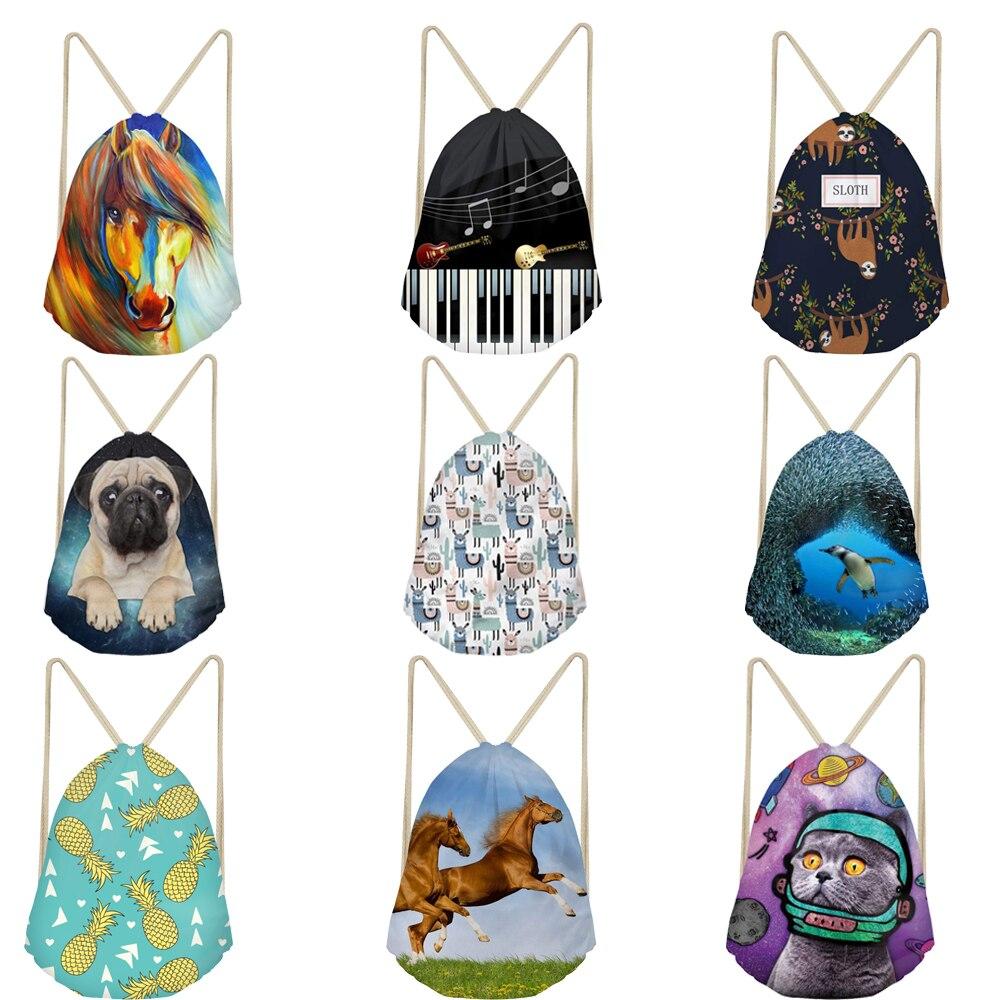 Big Drawstring Bag 3D Sloth Llama Pug Dog Cat Horse Animal Pattern Travel Drawstring Pocket Backpack Schoolbag Draw String Bags
