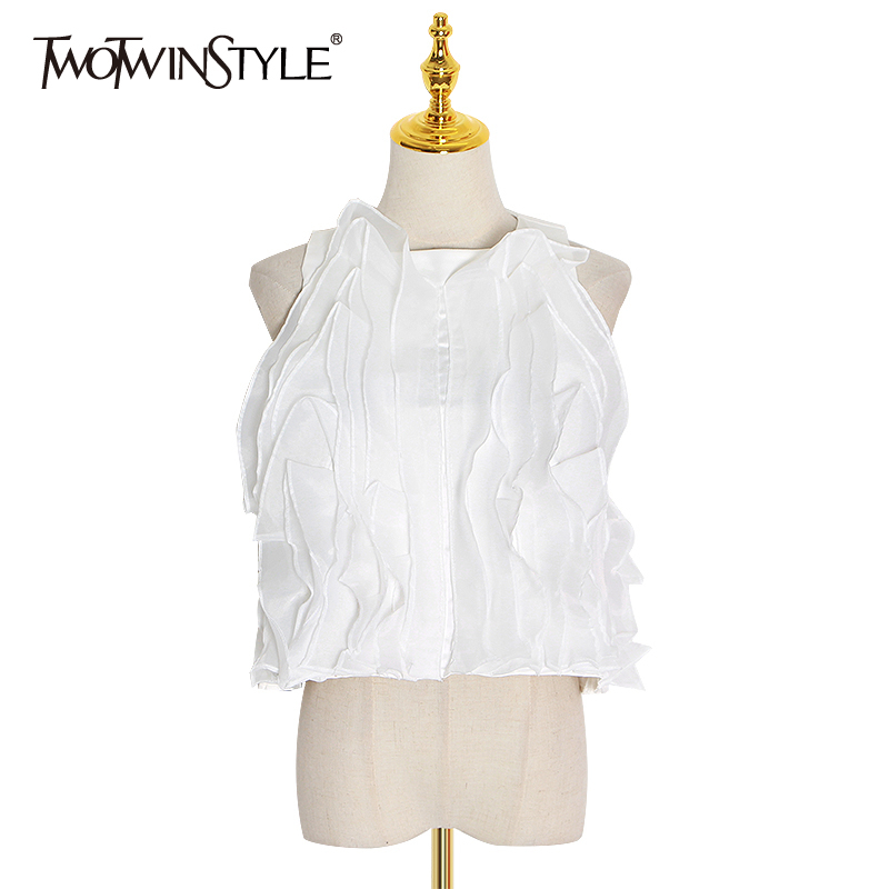 TWOTWINSTYLE Casual Patchwork Ruffles Women Tank Tops O Neck Sleeveless Loose Irregular Vest For Female Fashion Clothing Tide