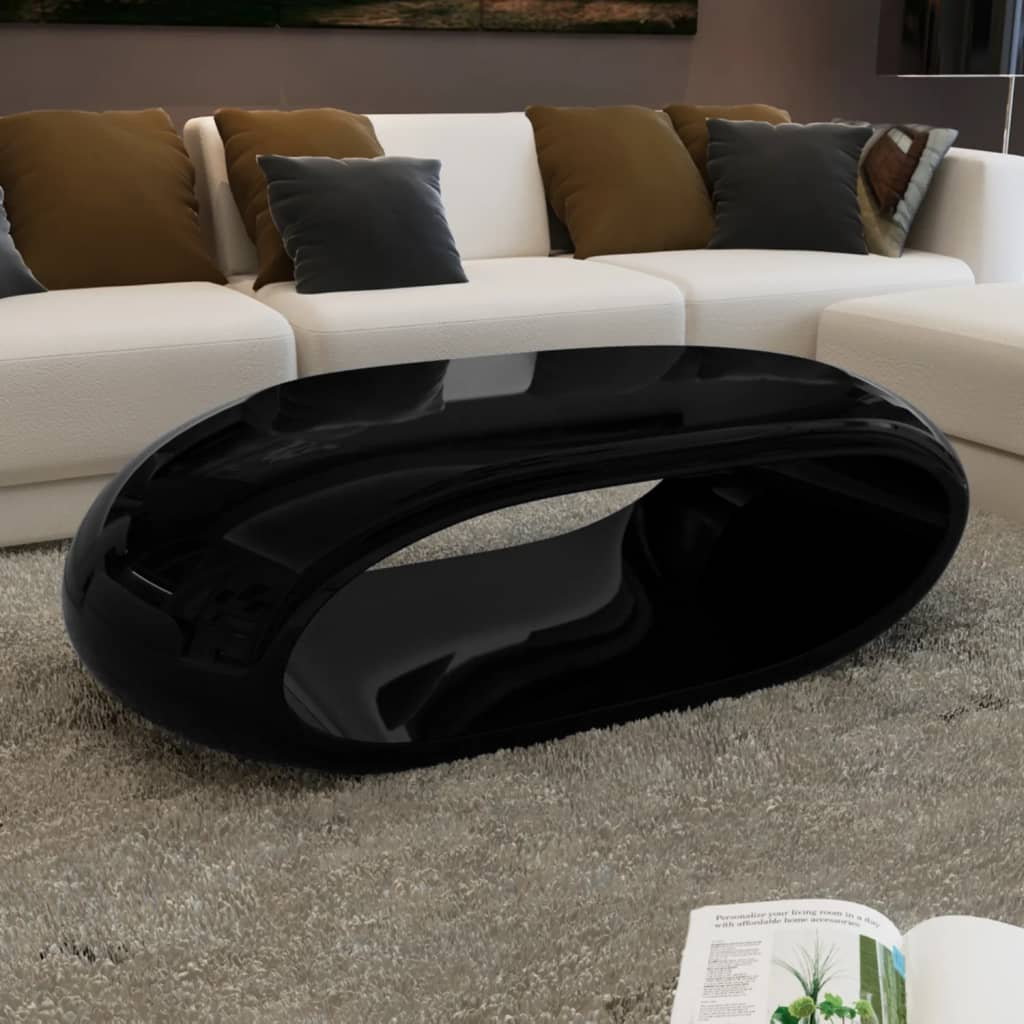 VidaXL Coffee Table Fibre Glass High Gloss Black