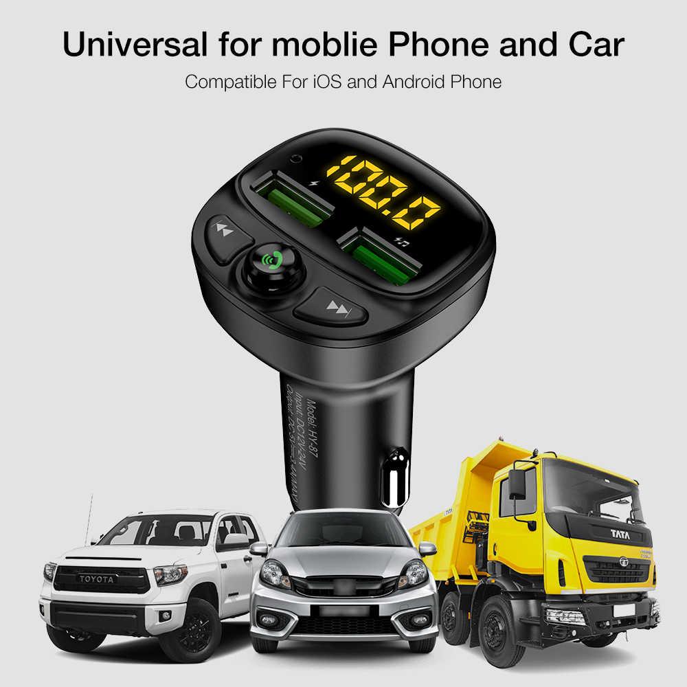 FLOVEME USB cargador de coche para teléfono Bluetooth transmisor inalámbrico de fm MP3 reproductor Dual USB cargador TF tarjeta música manos libres Kit de coche