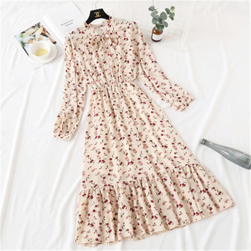 Floral Print Chiffon Dress 2020 Women Spring Long Sleeve Ruffle Pleated Long Dress Elastic Waist Vintage Femme Vestidos 86-1