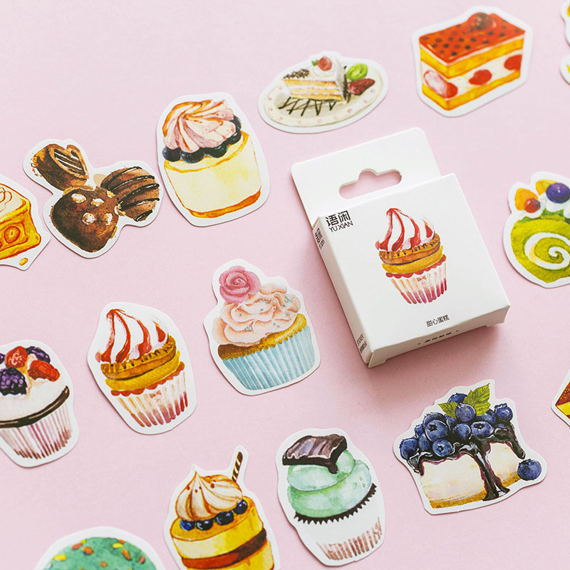 50Pcs Cute Cake Stickers Kawaii Dessert Toys Stickers Paper Adhesive Sticker For Kids DIY Scrapbooking Albums Supplies