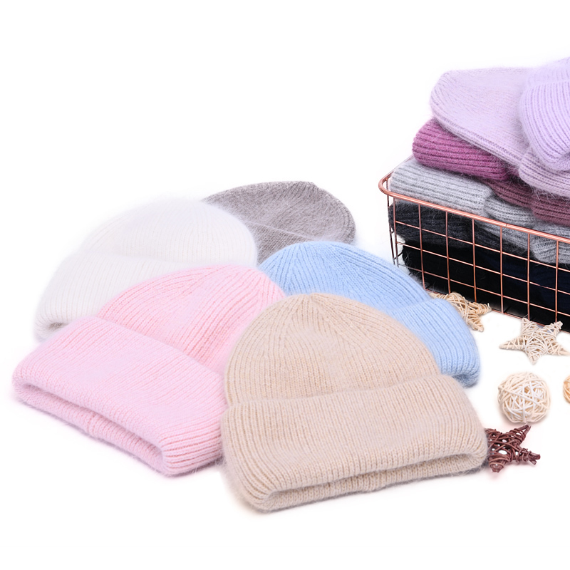 Skullies Beanies Women's Hats Cashmere-Wool Knitted Autumn Girls Thick Winter Casual