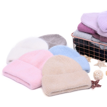 Casual Women's Hats Cashmere Wool Knitted Beanies Autumn Winter Brand New Three Fold Thick 2020 Knitted Girls Skullies Beanies 1