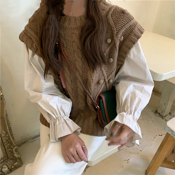 Spring Fall Back Lace Up O Neck Long Flare Sleeve Blouse Women White Top Wild Twist Sweater Sleeveless Vest Kniited Loose Casual late fall circle hoop lace up sweater
