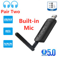 Transmisor de Audio CSR8675 AptX HD, adaptador inalámbrico de baja latencia, Bluetooth 5,0, 3,5mm, AUX, USB, Dongle, micrófono para auriculares de TV, PC, PS4