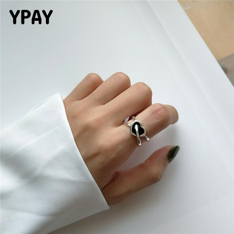 YPAY Authentic 925 Sterling Silver Ring Vintage Heart Arrow Adjustable Rings Fine Jewelry For Women Wedding Party Gifts YMR862