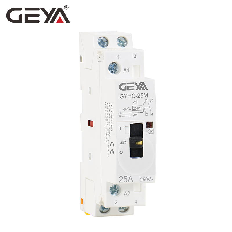 Free Shipping GEYA 2P 16A 20A <font><b>25A</b></font> 2NO <font><b>220V</b></font> 50/60Hz Manual Control Home Use AC <font><b>Contactor</b></font> Din Rail Type image