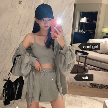 Women Summer Cotton Solid 2 two Piece Set Outfits Female Hooded Zipper Sweatshirts with Short Pants suit Outfits black solid color swimwears two piece outfits