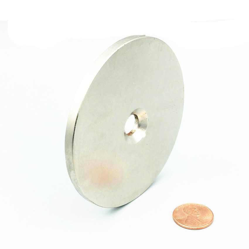 1 pcs NdFeB Lifting Magnet Dia. 80x5 mm with M10 Screw Countersunk Hole N42 Neodymium Rare Earth Permanent Magnet