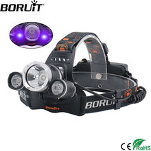 BORUIT RJ-3000 Purple Head Torch XML T6 XPE UV LED Headlight 18650 Battery USB Charger Headlamp 3 Mode Detector Flashlight boruit 3 mode zoomable headlamp 1000lm xml t6 led headlight usb charge head torch camping flashlight hunting frontal lantern
