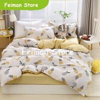 2019 New duvet cover set 3/ 4pcs bed set AB side bedding set bird flat sheet flower bedclothes home bedding bed linens