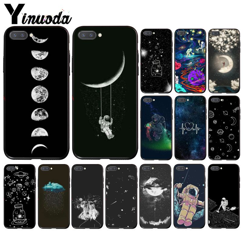 Yinuoda Sky Space Planet Black White Sun Moon Stars  Phone Case For Huawei Honor 8A 8X 9 10 20 Lite 7A 5A 7C 10i 20i