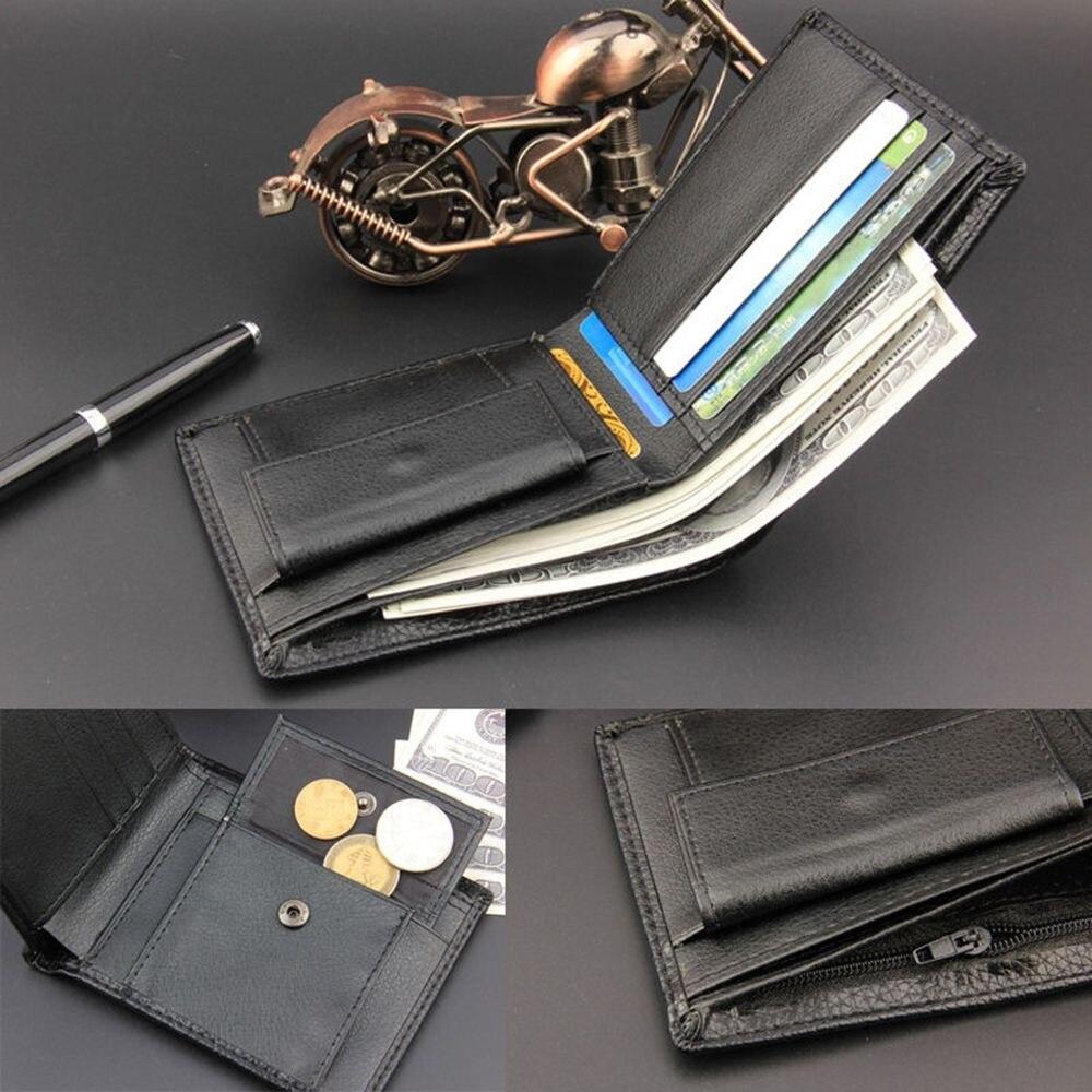 Men's Slim Leather Coin Zipper Pocket Wallet Bifold Credit ID Card Holder Purse