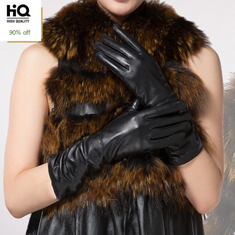 2020 High Quality Gloves Genuine Leather Solid Gloves Fashion OL Motorcycle Gloves Black Driving Guantes Invierno