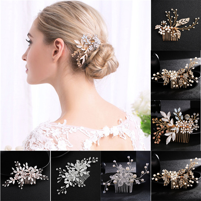 Pearls Bridal Hair Combs Bead Women Jewelry Accessories Beauty Handmade Bride Headwear Silver Head Comb Charms Flower Headdress