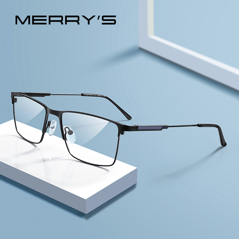 MERRYS DESIGN Men Titanium Alloy Glasses Frame Myopia Prescription Eyeglasses Optical Frame Business Style S2177