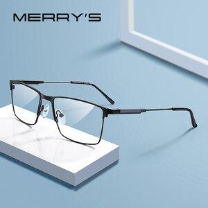 Image 1 - Merrys Ontwerp Mannen Titanium Legering Glazen Frame Bijziendheid Recept Brillen Optische Kader Stijl S2177