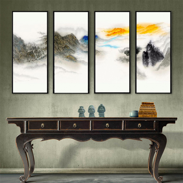 3D Color Watercolor Ink Mountain Wall Living Room Horizontal TV Backdrop Mural Wallpaper Mural Wall