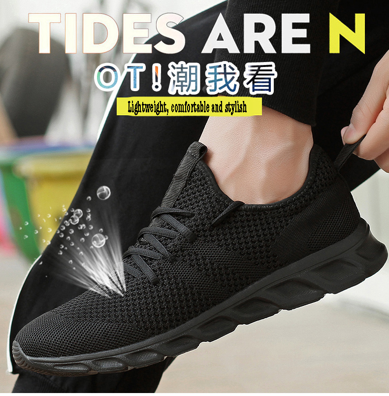 H25f38bd848e145c8b48a5b0cd5c79e23d Men Light Running Shoes Flyknit Breathable Lace-Up Jogging Shoes for Man Sneakers Anti-Odor Men's Casual Shoes Drop Shipping