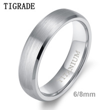 TIGRADE Classic Wedding Band Brushed Men Women Titanium Ring Domed Engagement Jewelry 6/8mm Simple Unisex Rings bague pour femme