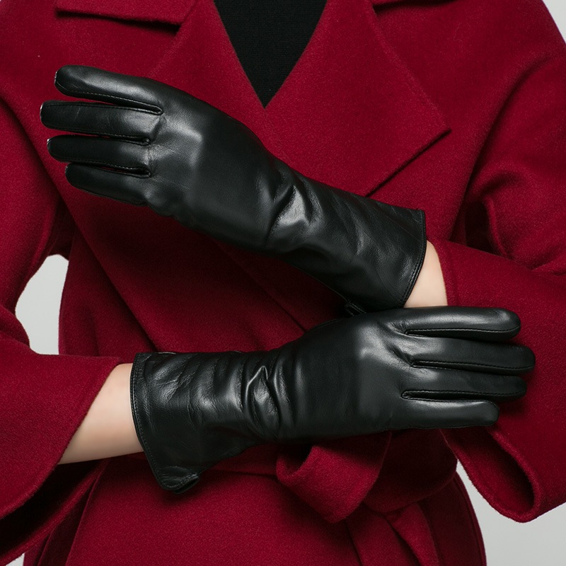 Real Leather Gloves Female Winter Long Style Leather Gloves Goatskin Medium And Long Section Keep Warm Woman's Gloves K9901
