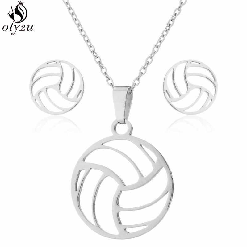 Oly2u สแตนเลสวอลเลย์บอลชุดสร้อยคอสำหรับผู้หญิง Collier Femme Volley Ball กีฬาพัดลมสร้อยคอจี้ Charm เครื่องประดับ
