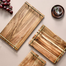 Wood-Tray Handle Dessert-Acacia Dinner-Plate Food Solid-Wood Fruit-Snack Cafe-Supplies