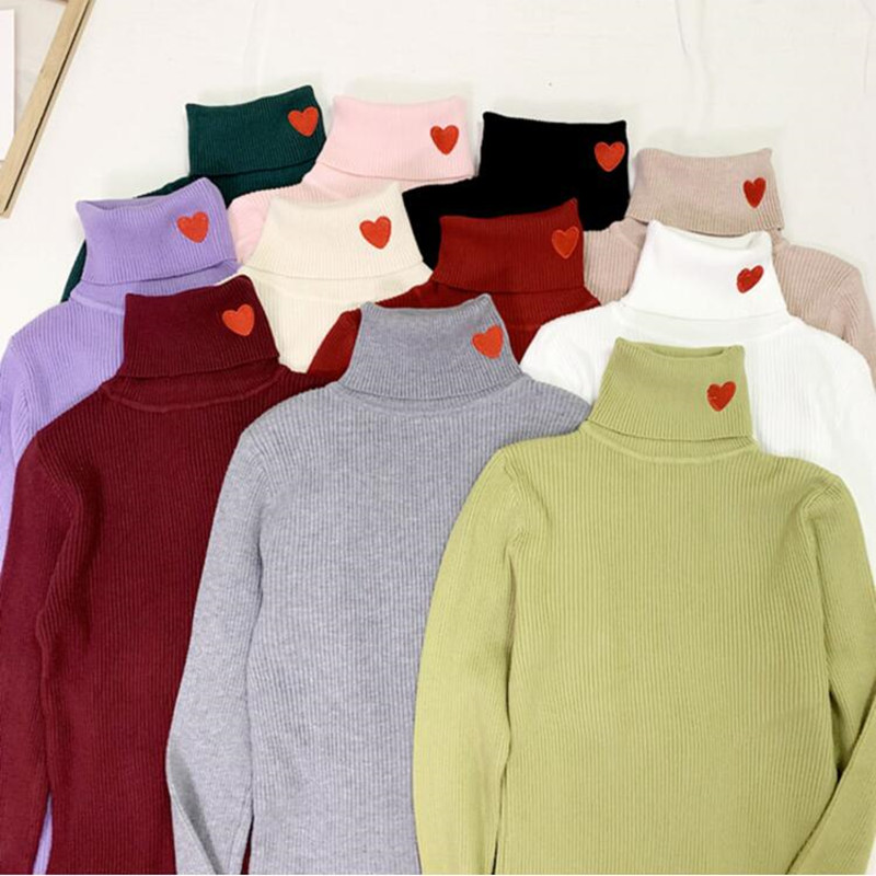 Long Sleeve Women Sweater And Pullover Autumn Winter Solid Color Casual Knitted