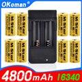 Перезаряжаемые литий-ионные аккумуляторы высокой емкости, 4800 мАч, 3,7 в, 16340, аккумулятор CR123A для светодиодного фонарика, аккумулятор CR123A с за...
