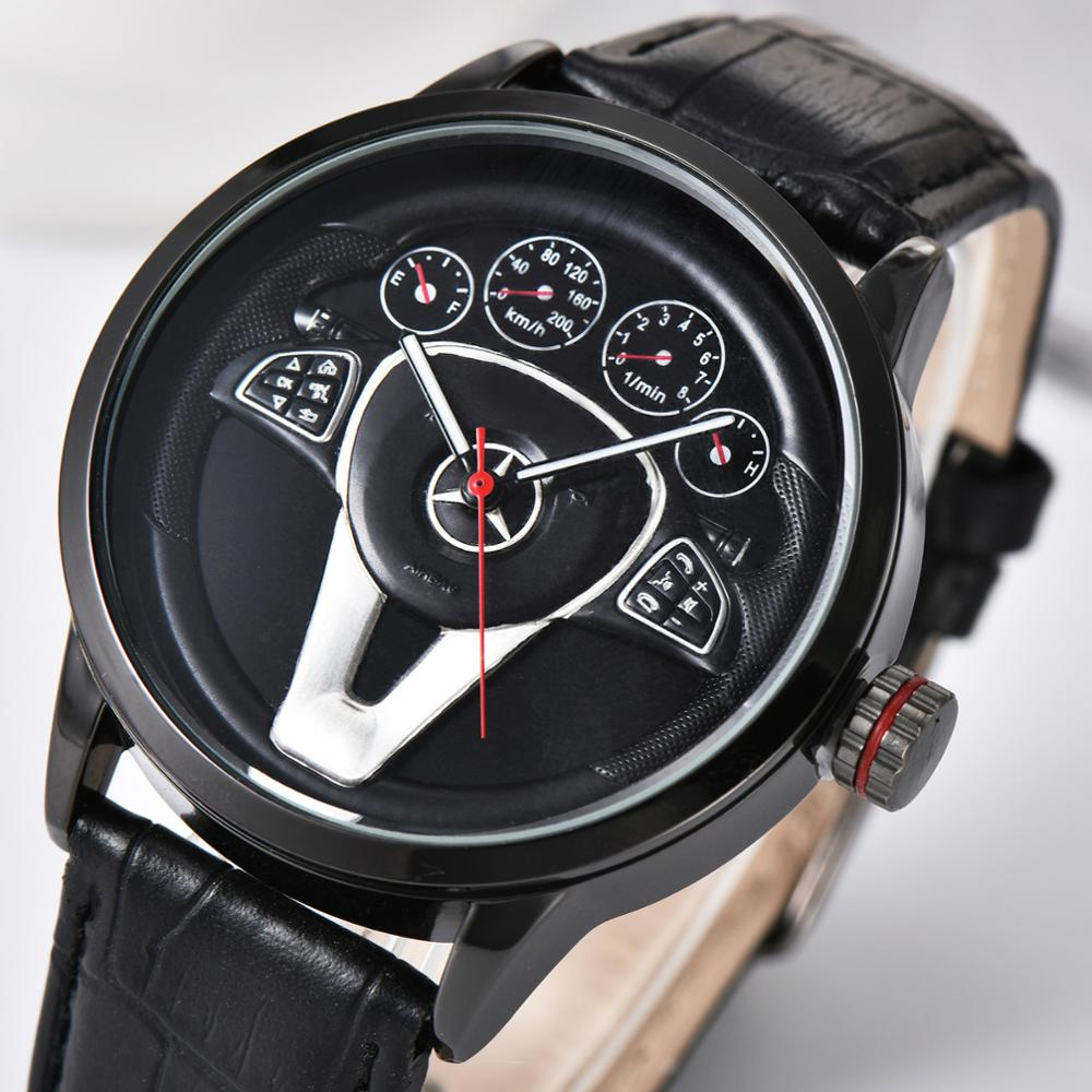 Creative Natrual Style Classic Precision Fashion Men's Quartz Watch Tire Free Stainless Strap Clock Casual Sports