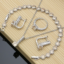925 Sterling Silver Bridal Jewelry Sets Champagne CZ For Women Earrings Indian Birthday Gift