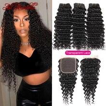 Hair Human-Hair-Bundles Lace Closure Brazilian-Hair Ali Annabelle Transparent Curly