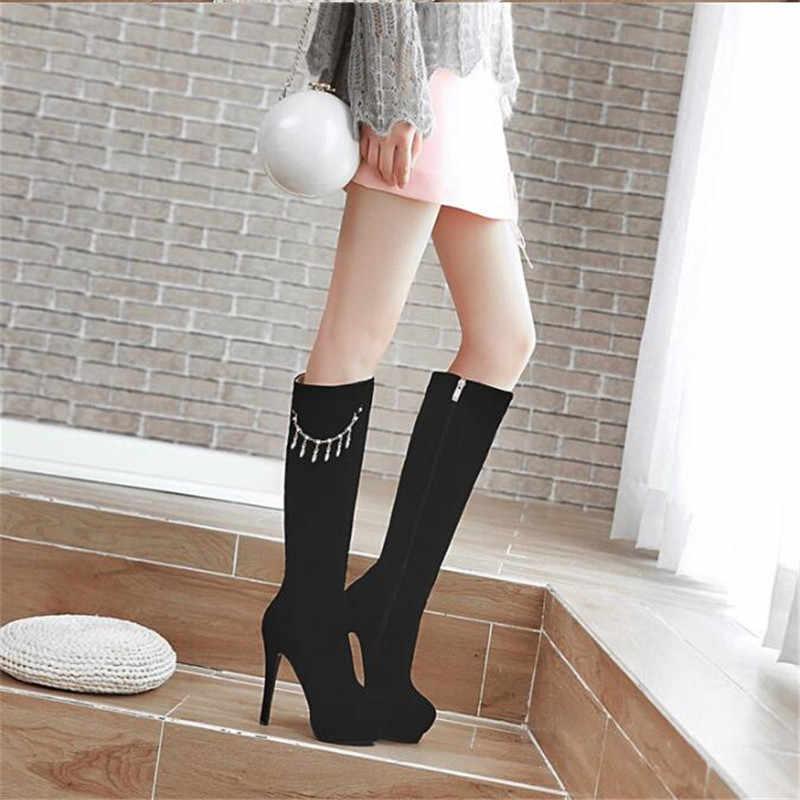 Nieuwe patroon Europa en Amerika Extra grote code vrouwen Laarzen 13cm Dunne Hakken Elastische laarzen Waterdicht 3CM superieure kwaliteit