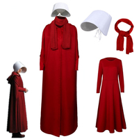 2019 The Handmaid's Tale Cosplay Costume Handmaid Offrod Woman Red Cloak Dress Scarf White Hat Set Halloween Party Accessories