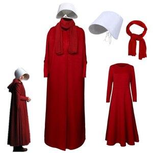 2019 conto da serva cosplay traje handmaid offrod mulher manto vermelho vestido cachecol branco chapéu definir acessórios de festa de halloween