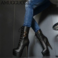 2020 New Plus Big Size 35 52 Black Lace Up Buckle Zip Fashion Sexy High Heel Platform Females Lady Mid Calf Women Boots X1928