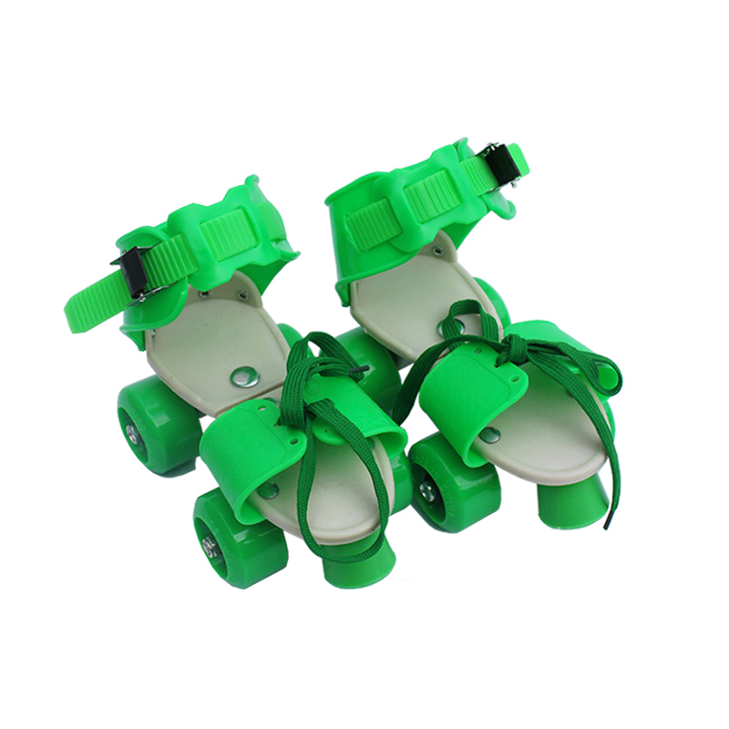 New Skate Children Double-Row Pulley Shoes Boys Girls 4-Wheel PU Children Roller Skates Adjustable Size 18-23cm Best Kids Gift