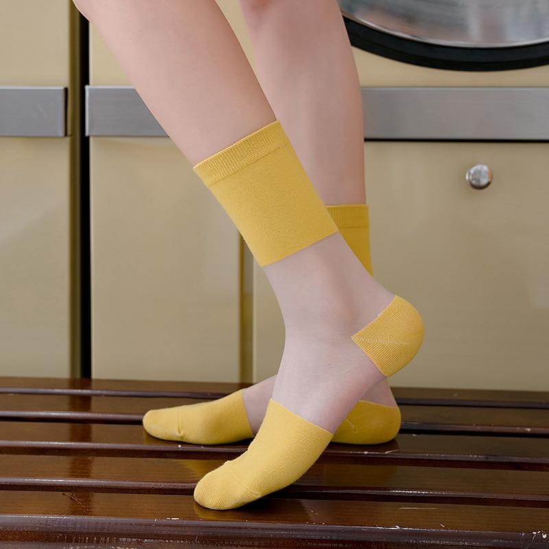 Fashion Women Socks 2020 New Color Women Fashion Color Thin Striped Long Socks Women Breathable Transparent Korea Style Socks