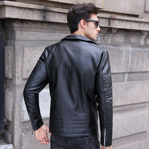 Image 5 - GustOmerD Brand 2019 Autumn Winter Casual Zipper PU Leather Jacket Motorcycle Leather Jacket Men Slim Fit Mens Jackets And Coats