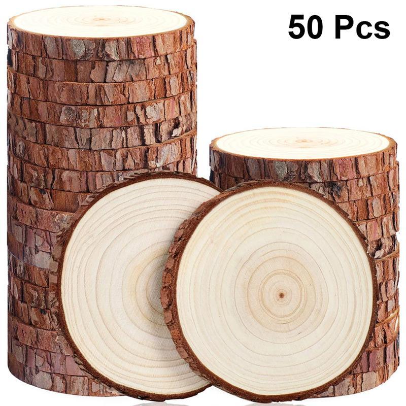 50 Uds 5-6cm de espesor Natural Pino redondo sin terminar rebanadas de madera círculos con discos de madera de corteza de árbol DIY artesanías boda pintura de fiesta