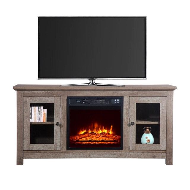"51"" Log Cyan Fireplace TV Cabinet 3"