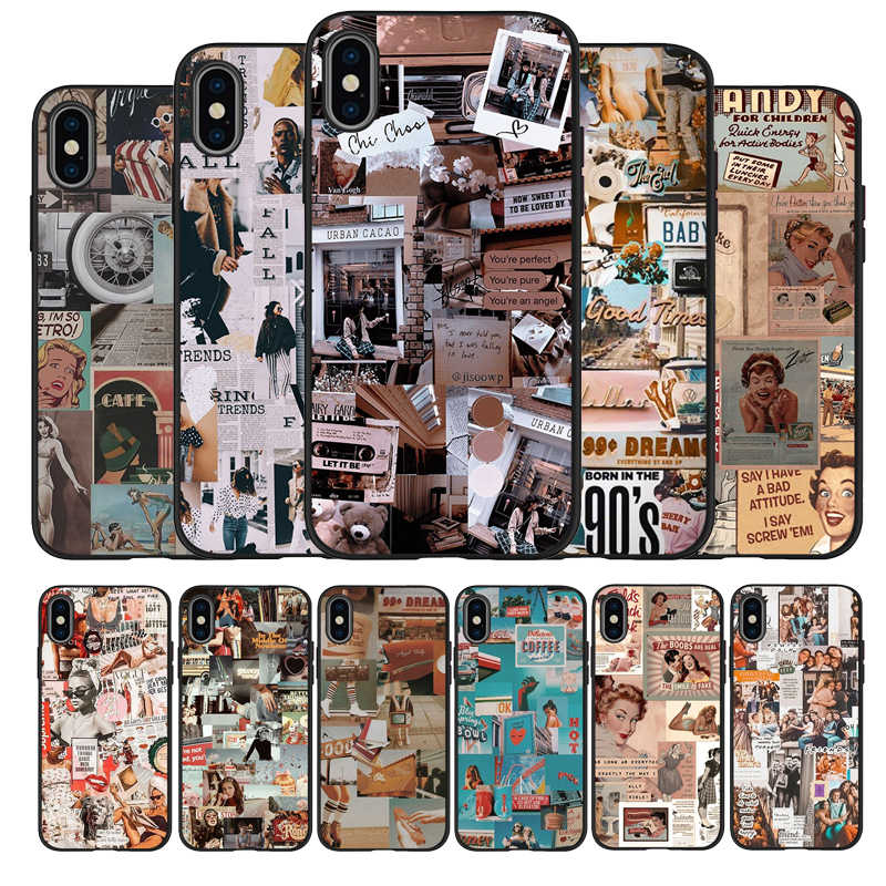 90s aesthetic vintage Black TPU Silicone Soft Phone Case For iPhone 11 Pro Max X XS MAX 5 6 7 8 Plus