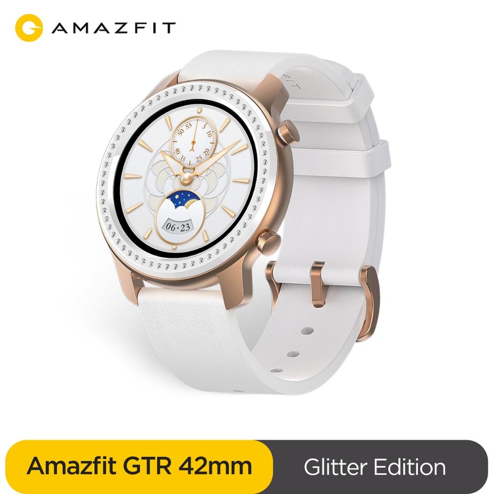 Глобальная версия Amazfit GTR 42 мм Смарт часы 5ATM водонепроницаемые Смарт часы 24 дня батарея gps управление музыкой кожаный силиконовый ремешок