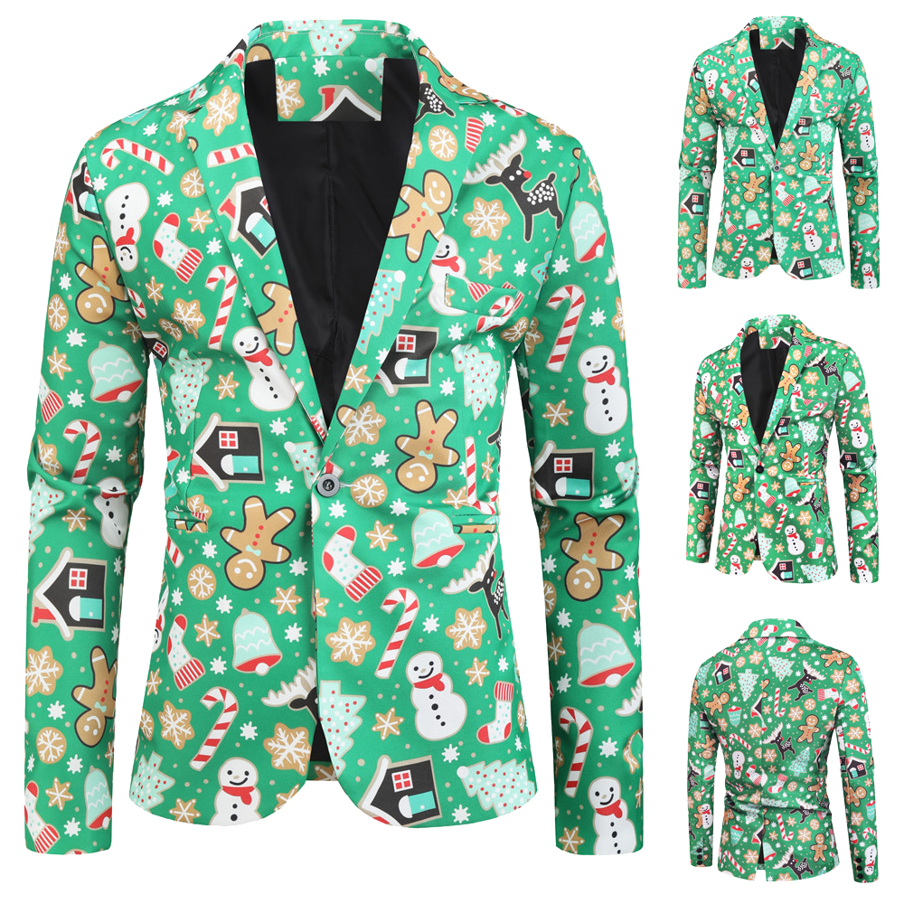 3D Christmas Blazers Jacket Men Floral Print Painting 2019 New Men's Fashion Suit Party Coat Casual Slim Fit Blazer Buttons Suit