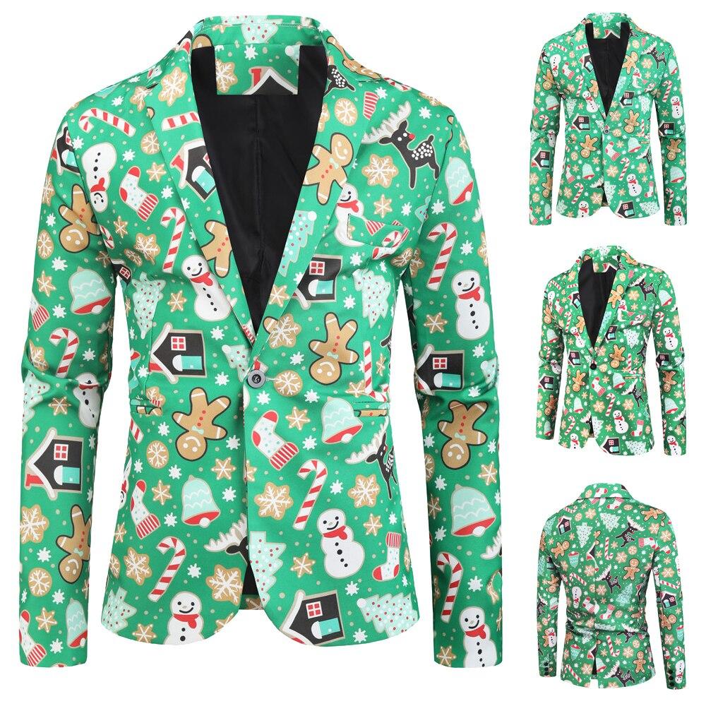 3D Christmas Blazers Jacket Men Floral Print Painting 2019 New Men's Fashion Suit Party Coat Casual Slim Fit Blazer Buttons Suit