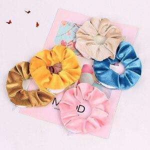 Image 2 - Бархатные резинки для волос, Женская эластичная резинка для волос на молнии, велюровая повязка для волос для девушек, держатель для конского хвоста, резинки для волос, сумка 0925